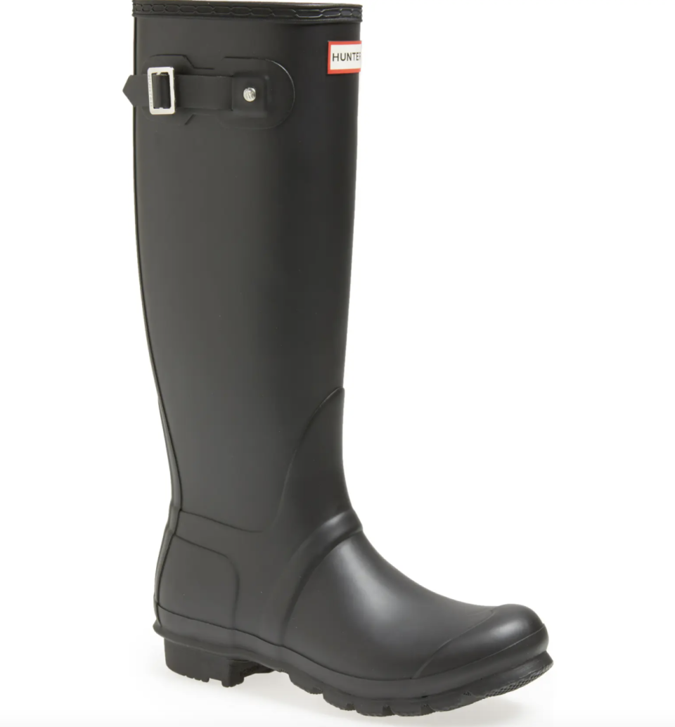 black Hunter Original Tall Rain Boots with buckle and hunter label on white background