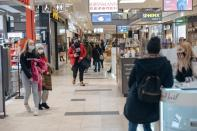 People visit a shopping centre in Gdansk