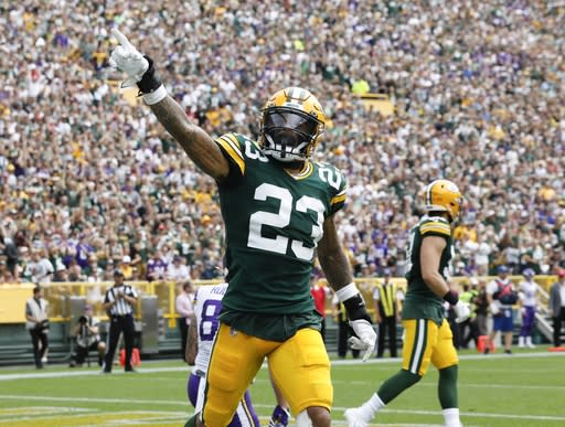 Green Bay Packers' Jaire Alexander reacts after a stop in the end zone during the first half of an NFL football game against the Minnesota Vikings Sunday, Sept. 15, 2019, in Green Bay, Wis. (AP Photo/Mike Roemer)