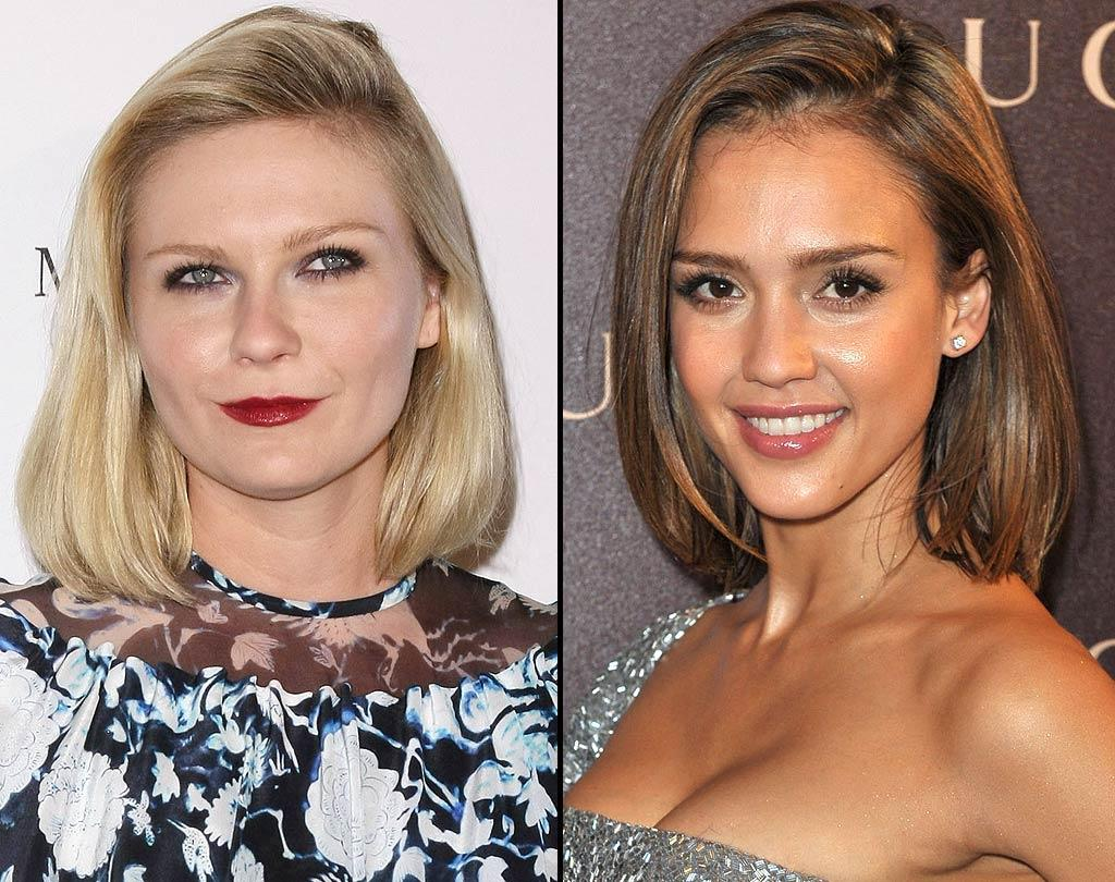 """""""All Good Things"""" actress Kirsten Dunst and """"Sin City"""" stunner Jessica Alba are competing in this battle of the classic bob. Kirsten modeled her mane in an ultra-light shade with pale makeup, while Jessica wore hers with honey-hued hair and a more colorful complexion. The verdict here? Jessica takes it easily. <a href=""""http://www.wireimage.com"""" target=""""new"""">WireImage.com</a> - March 1, 2011"""