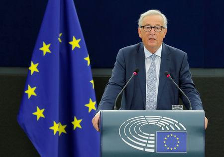 FILE PHOTO: European Commission President Juncker delivers a speech during a debate on The State of the EU at the European Parliament in Strasbourg