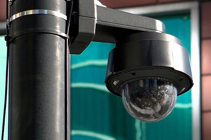 """In this Feb. 1, 2019 photo, a surveillance camera is seen near the spot where """"Empire"""" actor Jussie Smollett allegedly staged the attack in Chicago. Chicago police tapped into a vast network of surveillance cameras _ and some homeowners' doorbell cameras _ to help determine the identities of two brothers who later claimed they were paid by """"Empire"""" actor Jussie Smollett to stage a racist and homophobic attack."""