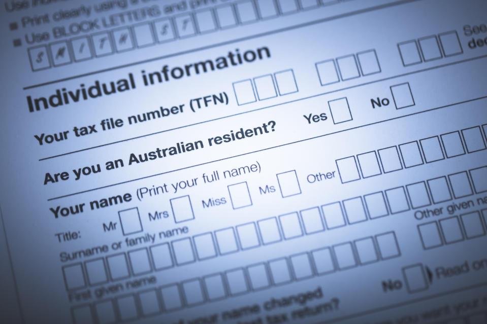 A stock photo of the Australian Tax forms.