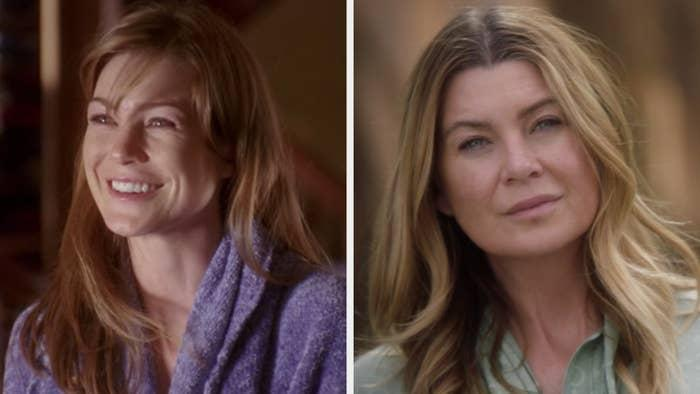 """Ellen Pompeo in the first episode of """"Grey's Anatomy"""" vs. the latest (""""Someone Saved My Life Tonight"""""""