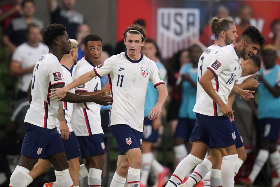 U.S. players celebrates a goal against Jamaica during a FIFA World Cup qualifying soccer match Thursday, Oct. 7, 2021, in Austin, Texas. (AP Photo/Eric Gay)