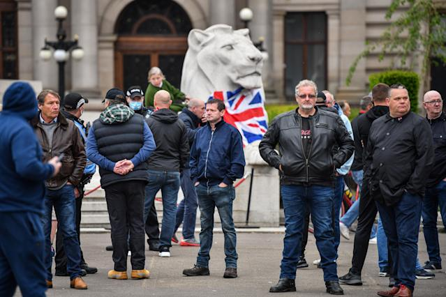 Activists gather at the cenotaph in George Square (Picture: Getty)