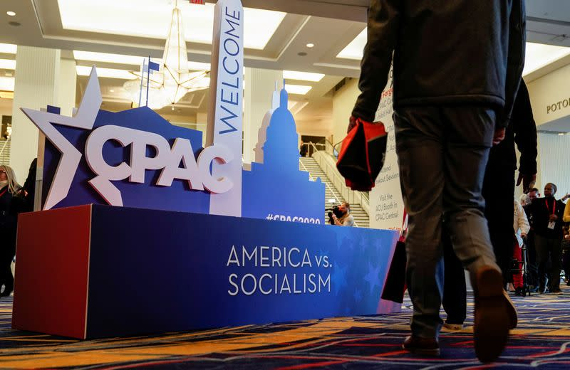 FILE PHOTO: People arrive at the Conservative Political Action Conference in Oxon Hill, Maryland