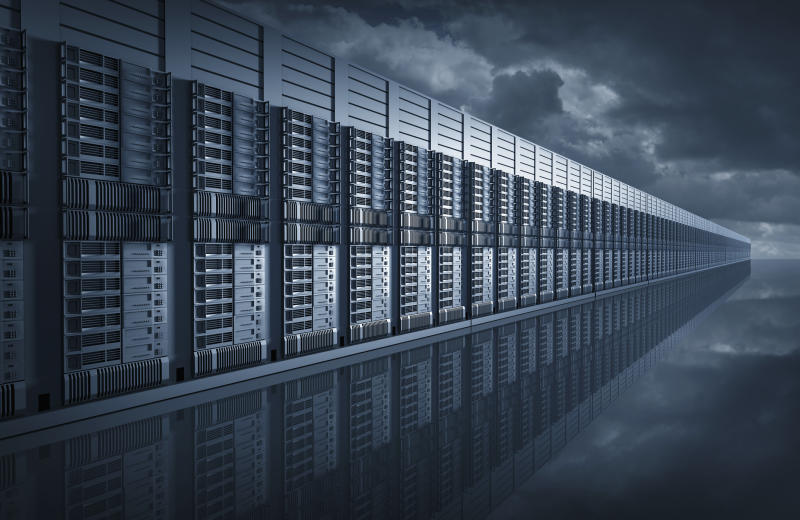 Digital illustration of endless server room