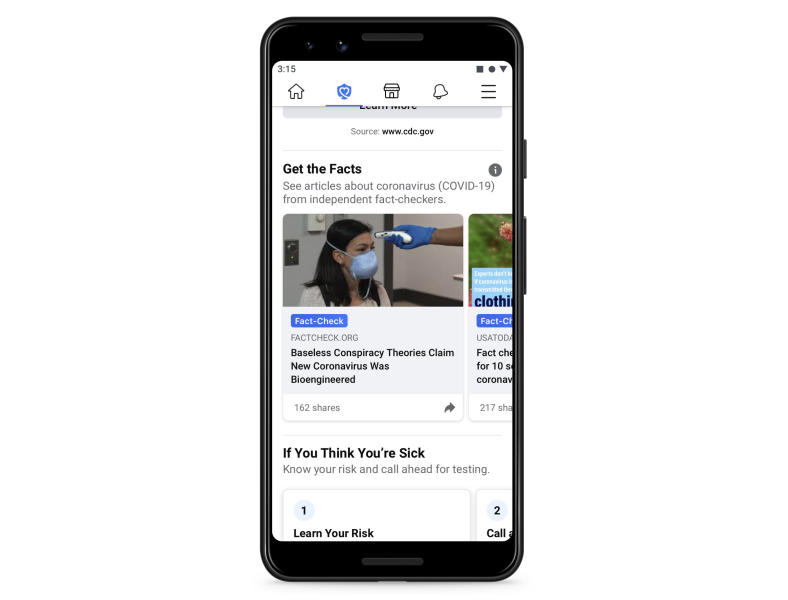 This undated image provided by Facebook shows the Facebook app on a cellular telephone. Facebook will soon let you know if you shared or interacted with dangerous coronavirus misinformation on the site, the latest in a string of aggressive efforts the social media giant is taking to contain an outbreak of viral falsehoods. (Facebook via AP)