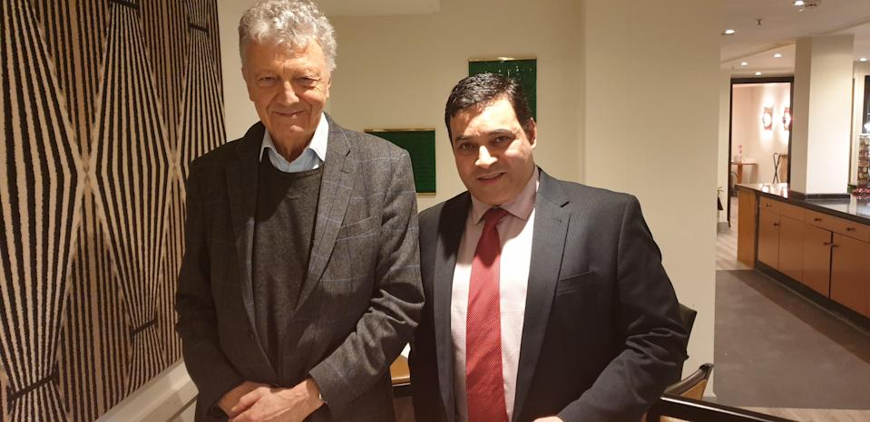 William Shawcross and Jonathan Ganesh after their meeting in 2020 (DVA/PA)