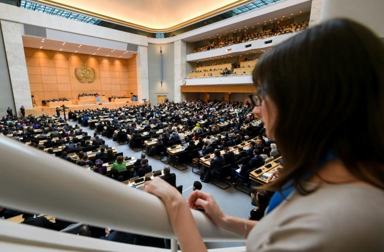 Delegates listen to the last speech of outgoing WHO director-general Margaret Chan on the opening day of the World Health Assembly, the WHO's annual meeting, on May 22, 2017 in Geneva