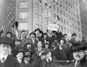 <p>A crowd gathers in Times Square to celebrate Germany's surrender and the end of World War I. </p>