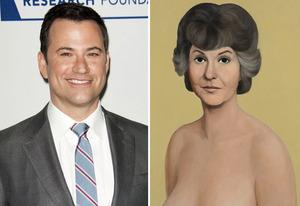 Jimmy Kimmel, Bea Arthur painting by John Currin | Photo Credits: Michael Bezjian/Getty Images; John Currin