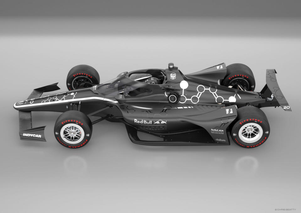 """This artists rendering provided by IndyCar shows an IndyCar featuring an aeroscreen (windshield). IndyCar will use an """"Aeroscreen"""" developed by Red Bull Advanced Technologies for cockpit protection beginning next season. The safety piece will cover the cockpit with a ballistic screen anchored by titanium framework. (Chris Beatty/IndyCar via AP)"""