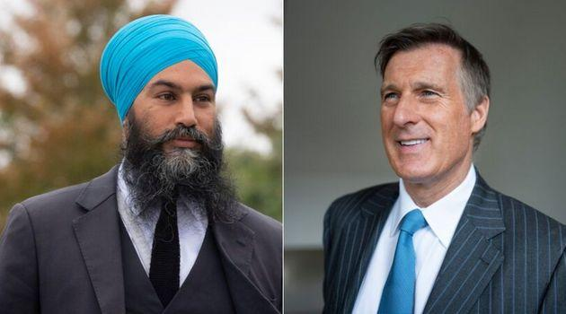 NDP Leader Jagmeet Singh and People's Party Leader Maxime Bernier are shown in a composite image.