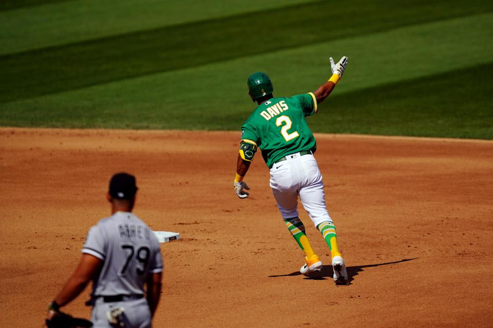 The A's rebounded in Game 2 against the White Sox and tied their AL wild-card series at 1-1. (Photo by Daniel Shirey/MLB Photos via Getty Images)