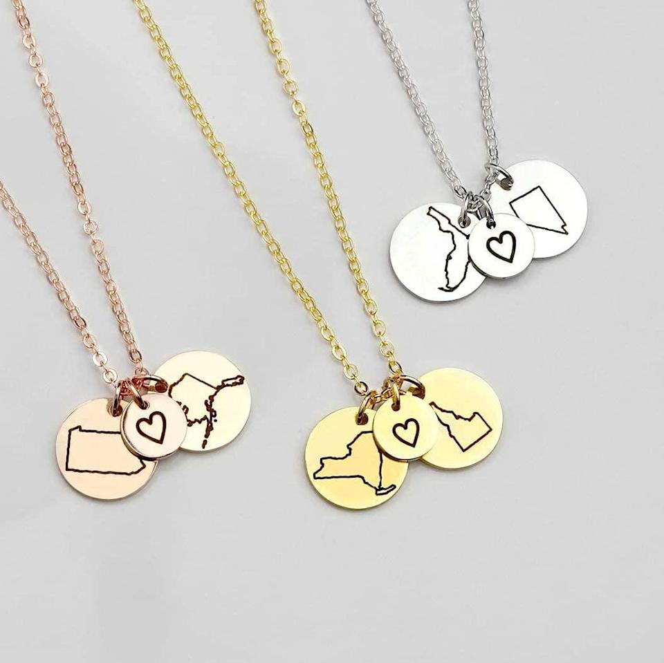 <p>Whether you and your bestie went off to different colleges or moved to different cities for work, always stay connected with this minimalistic <span>Long Distance Friendship State Charm Necklace </span> ($18). Choose the two states that represent your friendship in either silver, gold, or rose gold.</p>