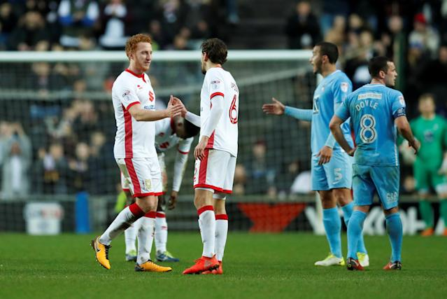 Soccer Football - FA Cup Fourth Round - Milton Keynes Dons vs Coventry City - Stadium MK, Milton Keynes, Britain - January 27, 2018 MK Dons's Dean Lewington is substituted off Action Images/Andrew Boyers