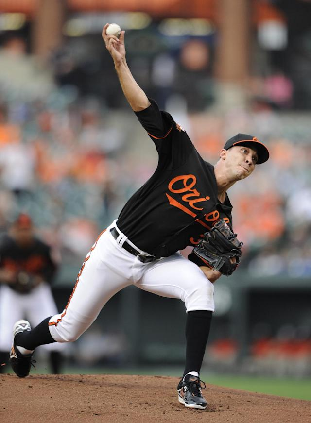 Baltimore Orioles starting pitcher Ubaldo Jimenez delivers against the Toronto Blue Jays during the first inning of a baseball game on Friday, June 13, 2014, in Baltimore. (AP Photo/Nick Wass)