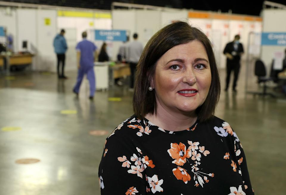 Chief Nursing Officer Charlotte McArdle at the SSE Arena vaccination centre in Belfast (Brian Lawless/PA) (PA Wire)