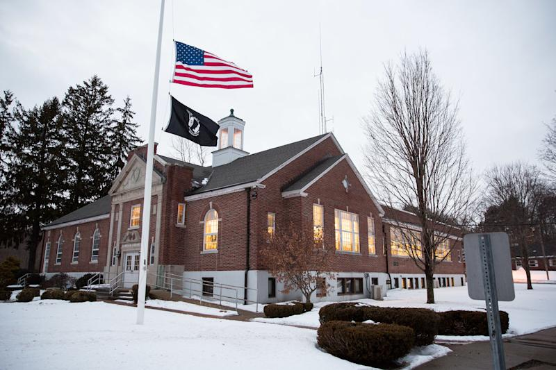 The public library in Hampden, Massachusetts, where Debney and Killoy live in relative anonymity. Unlike in neighboring Springfield, gun violence isn't an issue in the town of 5,000. (Kayana SZYMCZAK for HuffPost)
