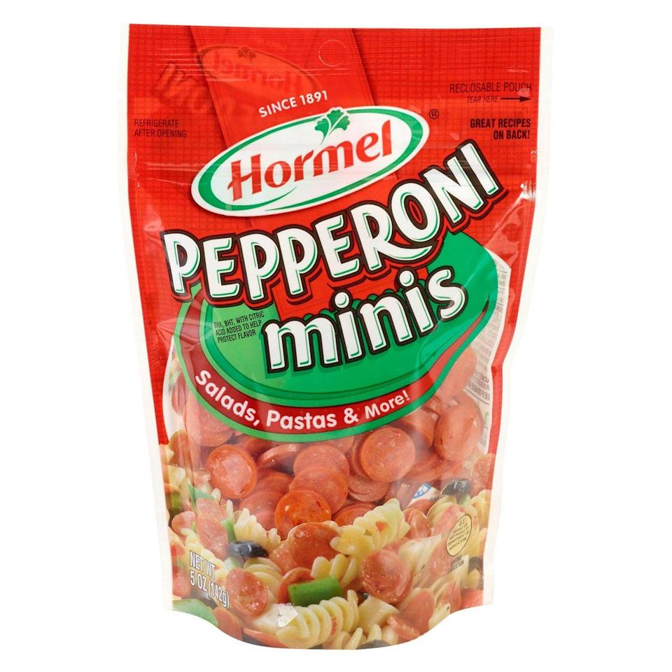 """<p><a class=""""link rapid-noclick-resp"""" href=""""https://www.target.com/p/hormel-mini-pepperoni-5-oz/-/A-47973323"""" rel=""""nofollow noopener"""" target=""""_blank"""" data-ylk=""""slk:BUY NOW"""">BUY NOW</a> <strong><em>$4, target.com</em></strong><br></p><p>The Delish kitchen team used to search far and wide every time they needed mini pepperoni for a recipe. Now they know to find it at Target — always.</p>"""