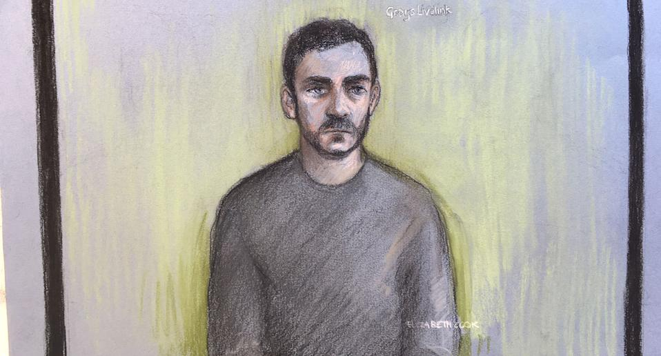 Maurice Robinson, drawn by a sketch artist, appeared via videolink (Picture: PA)
