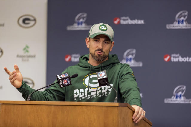 Green Bay Packers head coach Matt LaFleur wasn't happy after an NFC championship game loss. (AP Photo/Mike Roemer)