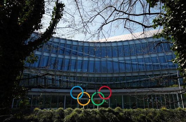The Olympic rings are pictured in front of the International Olympic Committee (IOC) in Lausanne