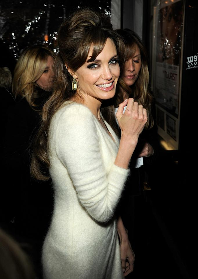 """<a href=""""http://movies.yahoo.com/movie/contributor/1800019275"""">Angelina Jolie</a> attends the New York premiere of <a href=""""http://movies.yahoo.com/movie/1810149482/info"""">The Tourist</a> on December 6, 2010."""