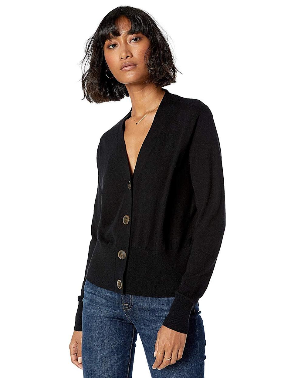 """<p>This <a href=""""https://www.popsugar.com/buy/Drop-Daniela-Boxy-V-Neck-Fine-Jersey-Cardigan-Sweater-506605?p_name=The%20Drop%20Daniela%20Boxy%20V-Neck%20Fine%20Jersey%20Cardigan%20Sweater&retailer=amazon.com&pid=506605&price=45&evar1=fab%3Aus&evar9=46804763&evar98=https%3A%2F%2Fwww.popsugar.com%2Ffashion%2Fphoto-gallery%2F46804763%2Fimage%2F46804769%2FThis-Layering-Sweater&list1=shopping%2Cfall%20fashion%2Camazon%2Cfall&prop13=mobile&pdata=1"""" class=""""link rapid-noclick-resp"""" rel=""""nofollow noopener"""" target=""""_blank"""" data-ylk=""""slk:The Drop Daniela Boxy V-Neck Fine Jersey Cardigan Sweater"""">The Drop Daniela Boxy V-Neck Fine Jersey Cardigan Sweater</a> ($45) is the definition of a wardrobe staple.</p>"""