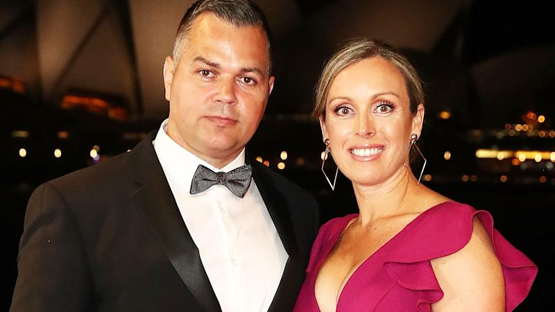 Anthony Seibold and his wife, pictured here at the 2018 Dally M Awards in Sydney.