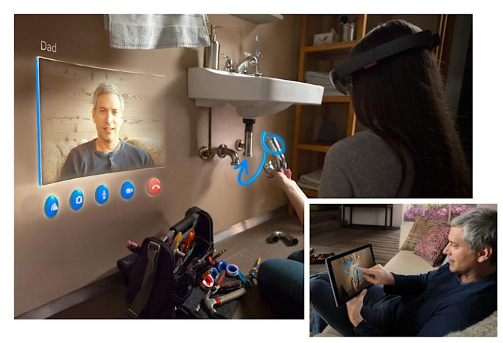 Microsoft has been adding Skype into its products ever since it purchased the company in 2011. Above, a Microsoft HoloLens user makes a Skype call in augmented reality.