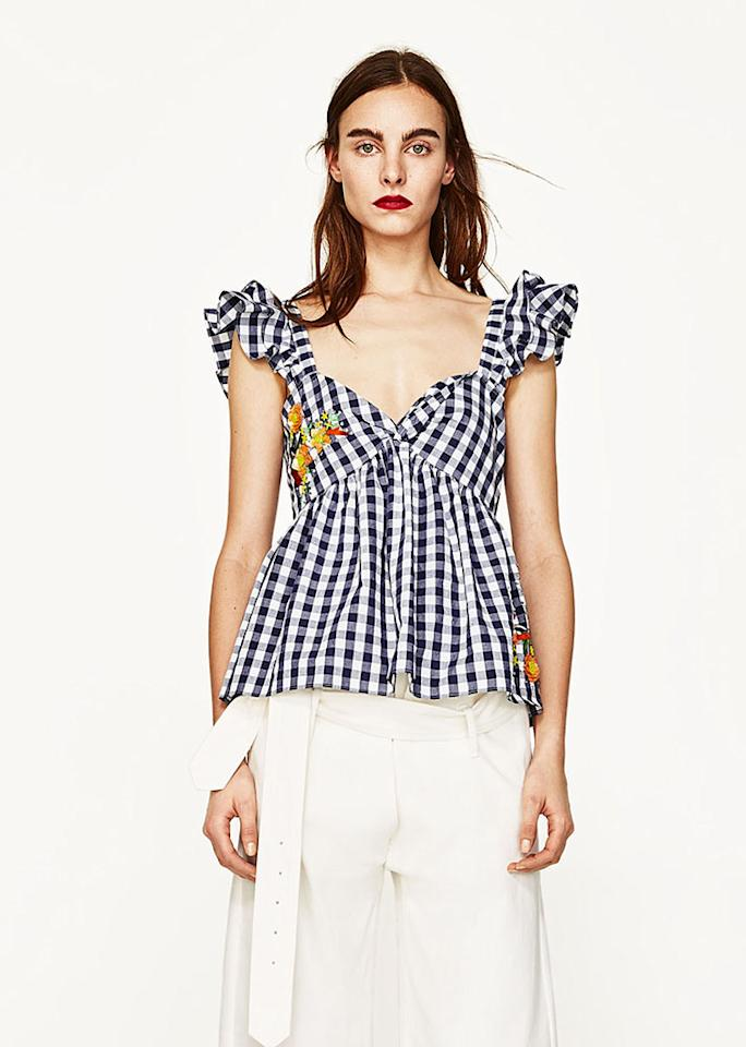"""Gingham Embroidered Top, $49.90; at <a rel=""""nofollow"""" href=""""https://www.zara.com/us/en/woman/new-in/gingham-embroidered-top-c805003p4329523.html"""" rel="""""""">Zara</a>"""