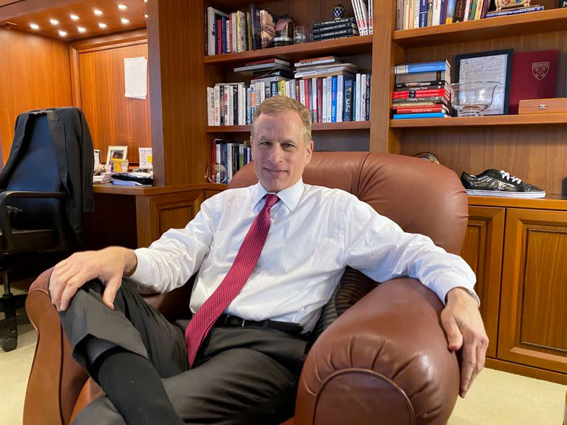 FILE PHOTO: Dallas Federal Reserve Bank President Robert Kaplan speaks during an interview in his office at the bank's headquarters in Dallas