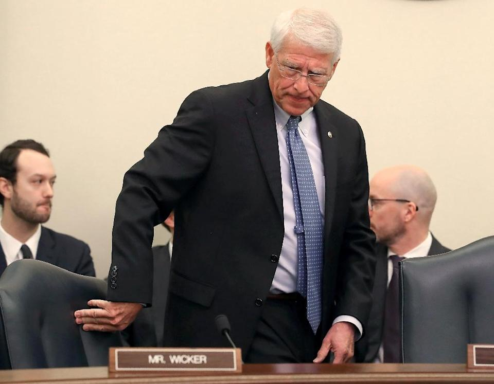 Senator Roger Wicker, who heads the commerce committee, was criticized for snubbing consumer organizations at a hearing to consider US privacy legislation (AFP Photo/MARK WILSON)