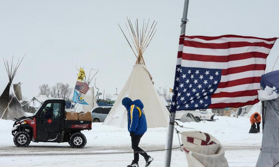 The Oceti Sakowin camp during a protest against plans to pass the Dakota Access pipeline near the Standing Rock reservation in North Dakota