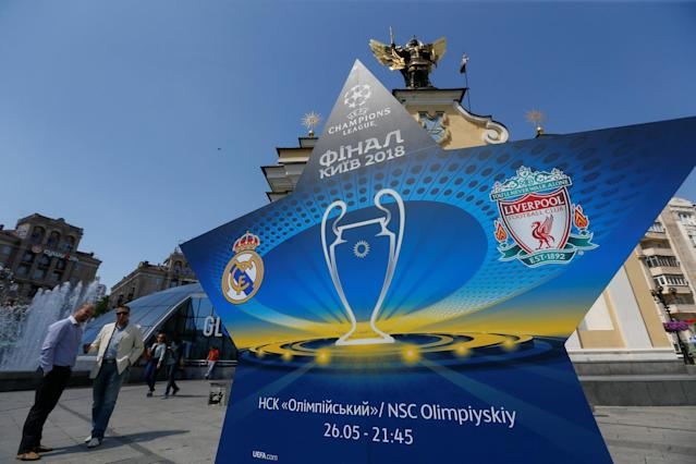 the logo of the Champions League Final is seen at the Independence Square in Kiev, Ukraine, May 10, 2018. Picture taken May 10, 2018. REUTERS/Valentyn Ogirenko