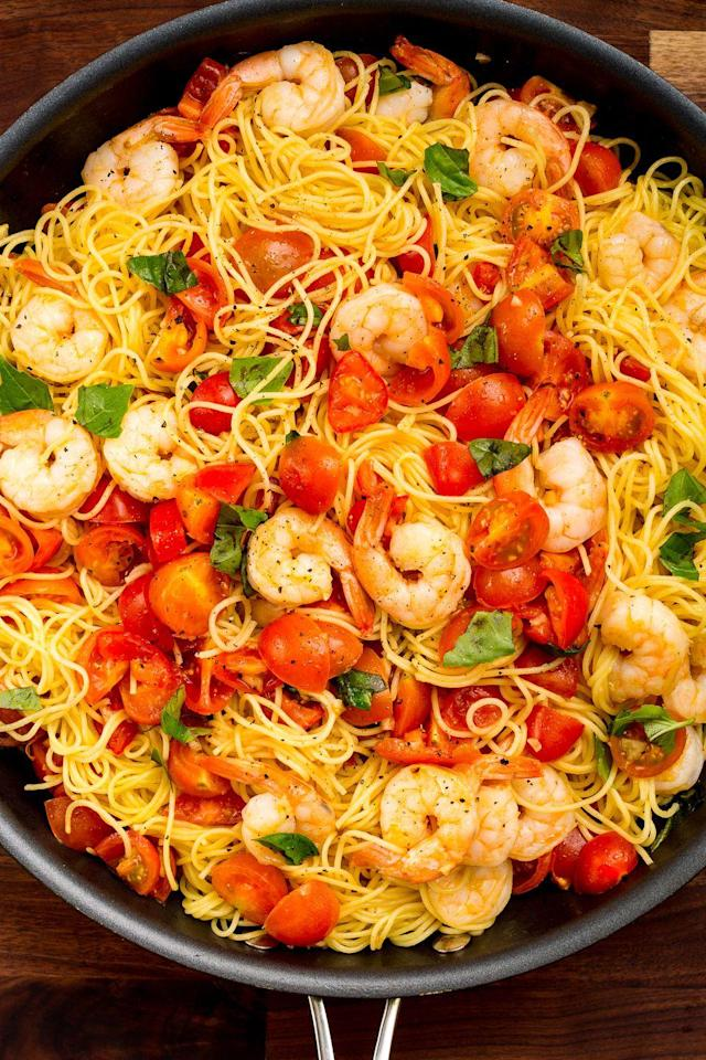 """<p>You're going to be making this satisfying shrimp pasta on repeat.</p><p>Get the recipe from <a href=""""https://www.delish.com/cooking/recipe-ideas/recipes/a47440/bruschetta-shrimp-pasta-recipe/"""" rel=""""nofollow noopener"""" target=""""_blank"""" data-ylk=""""slk:Delish"""" class=""""link rapid-noclick-resp"""">Delish</a>.</p><p><strong><a href=""""https://www.amazon.com/Creuset-Enameled-Cast-Iron-9-Inch-Skillet/dp/B00005QFSP/"""" rel=""""nofollow noopener"""" target=""""_blank"""" data-ylk=""""slk:BUY NOW"""" class=""""link rapid-noclick-resp"""">BUY NOW</a> <em>Le Creuset Cast-Iron 9"""" Skillet, $140, </em></strong><em><strong>amazon.com</strong></em><br></p>"""