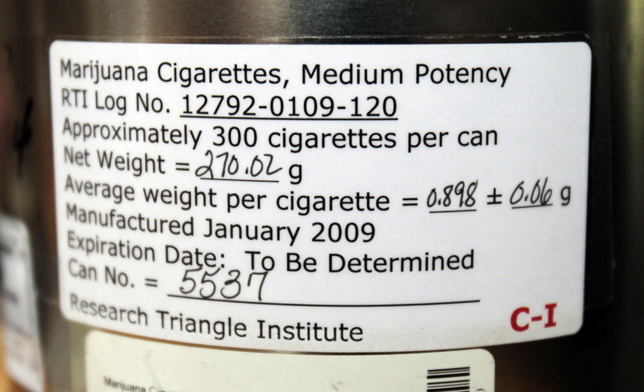 The label on the side of a canister holding marijuana cigarettes that Elvy Musikka, 72, who suffers from glaucoma, regularly receives from the U.S. Government in Eugene, Ore., is shown Tuesday, Sept. 27, 2011. For the past three decades, the federal government has been providing a handful of patients with some of the highest grade marijuana around. The program grew out of a 1976 court settlement that created the country's first legal pot smoker. (AP Photo/Don Ryan)