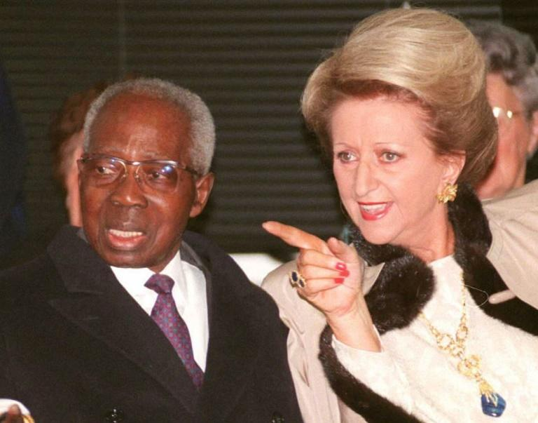 Leopold and Colette Senghor, pictured in 1996 at ceremonies in the Norman town of Verson to mark his 90th birthday