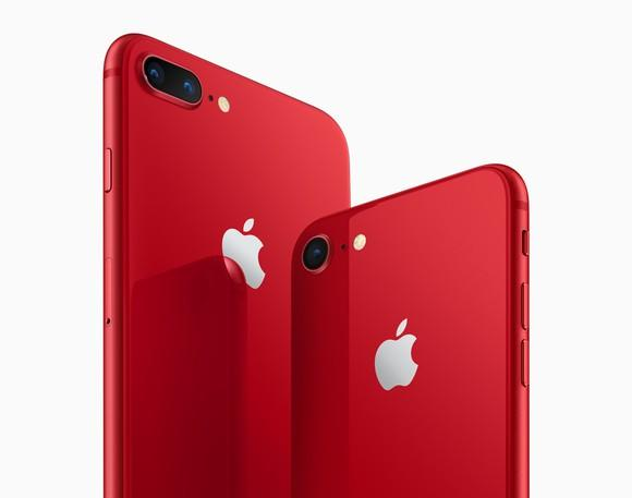 Apple's iPhone 8 Plus (left) and iPhone 8 (right) in red.