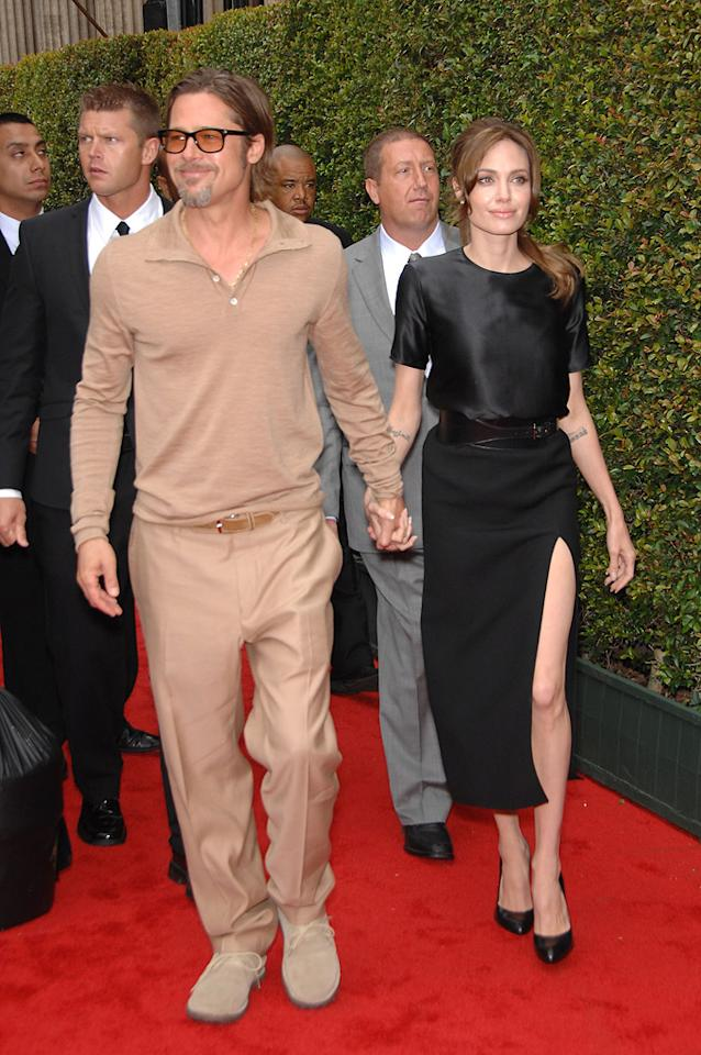 "<a href=""http://movies.yahoo.com/movie/contributor/1800018965"">Brad Pitt</a> and <a href=""http://movies.yahoo.com/movie/contributor/1800019275"">Angelina Jolie</a> attend the Los Angeles premiere of <a href=""http://movies.yahoo.com/movie/1810090593/info"">Kung Fu Panda 2</a> on May 22, 2011."