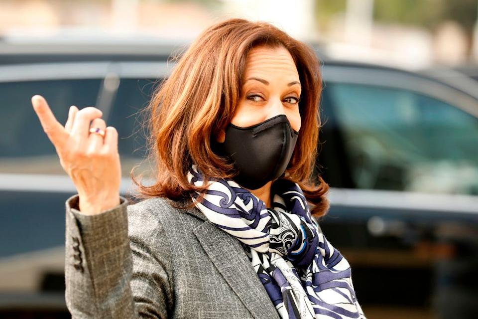 Democratic Vice Presidential Nominee Senator Kamala Harris wearing a mask