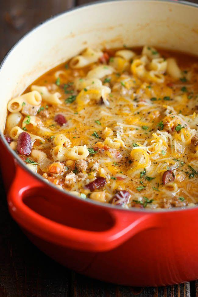 "<p>You've never looked forward to cold weather this much.</p><p>Get the recipe from <a href=""http://damndelicious.net/2014/03/15/one-pot-chili-mac-cheese/"" rel=""nofollow noopener"" target=""_blank"" data-ylk=""slk:Damn Delicious"" class=""link rapid-noclick-resp"">Damn Delicious</a>.</p>"