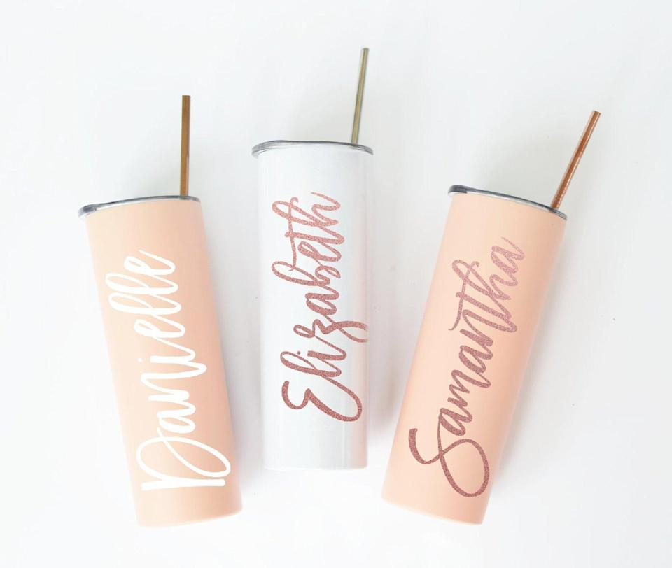 <p>The <span>Personalized Tumbler With Lid and Straw</span> ($15, and up) is probably the one item they'll use so often they might order a few more for themselves. It's a stylish find, perfect for iced coffee, refreshing drinks, and more. </p>