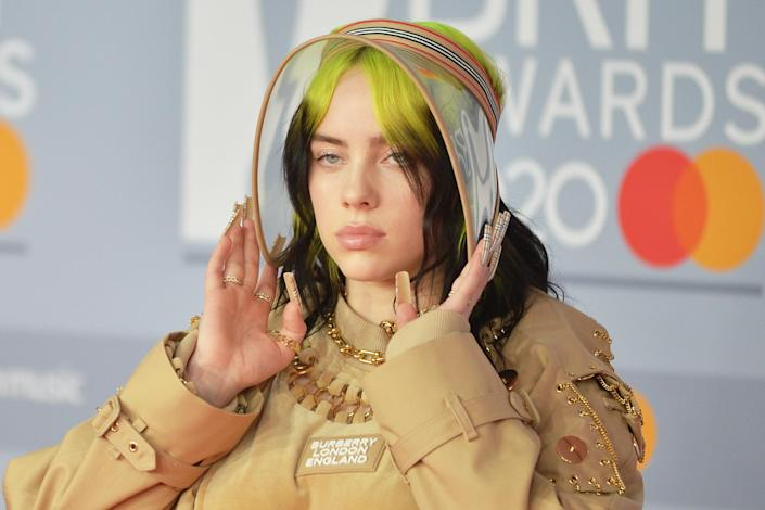 Billie Eilish is photographed at The BRIT Awards in 2020