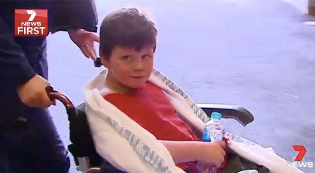 Dylan, 10, is taken to hospital. Source: 7 News