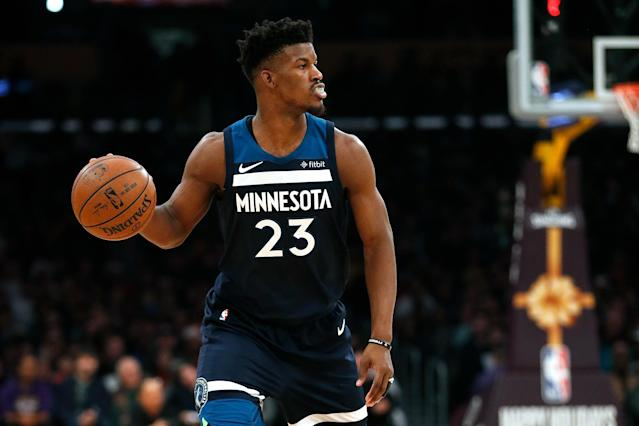 "<a class=""link rapid-noclick-resp"" href=""/nba/teams/min"" data-ylk=""slk:Timberwolves"">Timberwolves</a> owner Glen Taylor has reportedly told other NBA teams that <a class=""link rapid-noclick-resp"" href=""/nba/players/4912/"" data-ylk=""slk:Jimmy Butler"">Jimmy Butler</a> is available, despite Tom&nbsp; <span>Thibodeau's reluctance to trade his All-Star forward.&nbsp;</span>(Getty Images)"