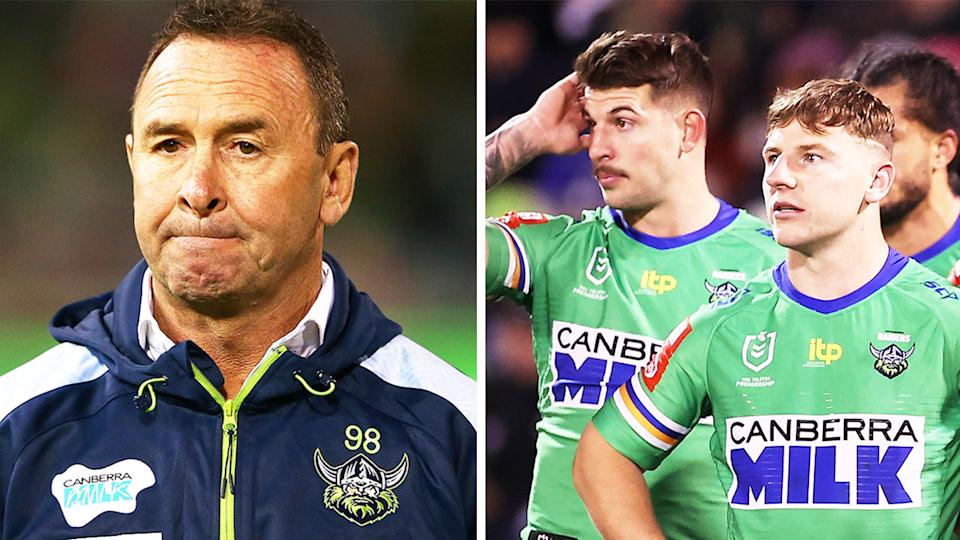 Coach Ricky Stuart (pictured left) looking dejected and (pictured right) Raiders players looking defeated.